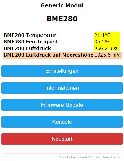 BME280 Temperatur/Luftfeuchte/Luftdruck Sensor